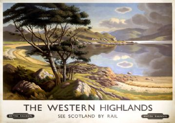The Western Highlands. BR Vintage Travel Poster by Edward Halliday